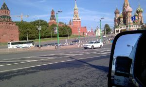 Transportation service in Moscow Russia, Red Square view from bridge