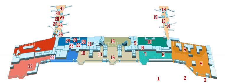 Transfer airport Moscow Domodedovo DME, map of first floor